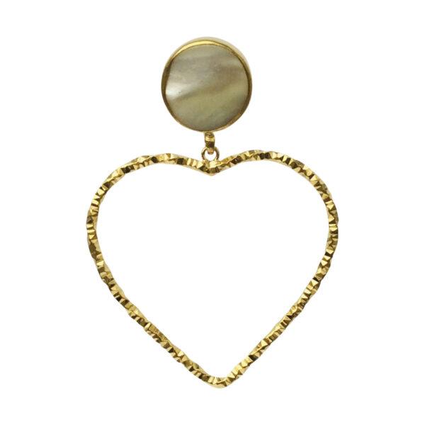 Heart BerNice Brass gold plated semiprecious stones