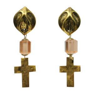 BerNice cross Brass gold plated resin semi -precious stone