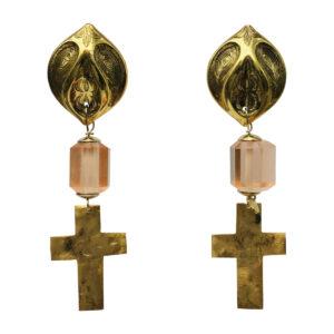 BerNice cross Brass gold plated resin semi -precious stone