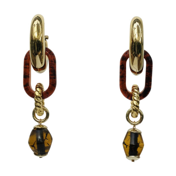 BerNice Brass gold plated resin semi -precious stone