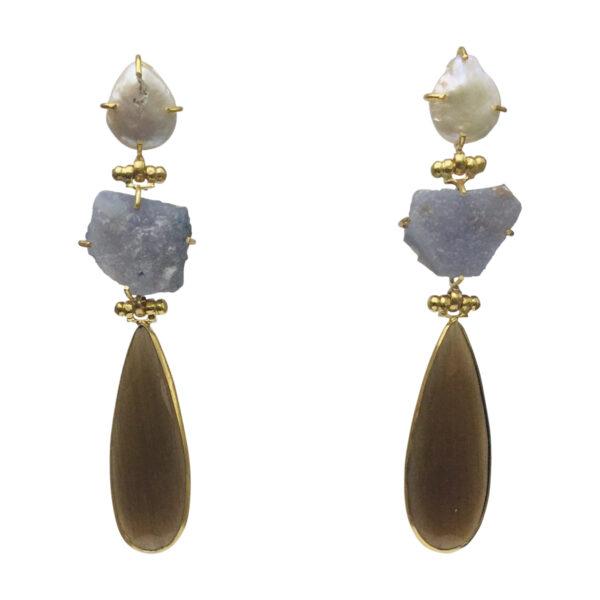 BerNice Sparkling Semiprecious stones brass Gold plated
