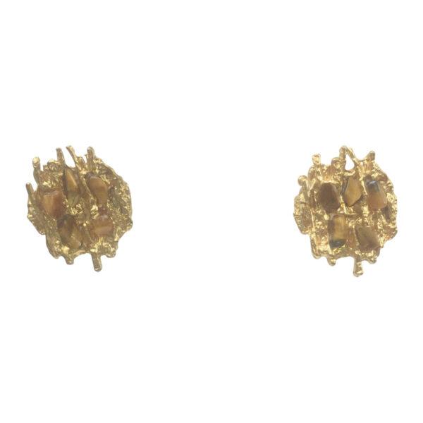 BerNice Vintage Haute Couture Runway 70-80's FB jewellers Paris GoldPlated Clip earring