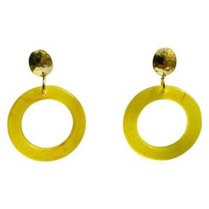 Italian Resin Earring Green Color Hamered Top